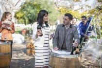 Sales people preparing wine selling event at wine estate — Stock Photo
