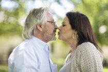 Homem sênior beijando mulher sênior no jardim — Fotografia de Stock
