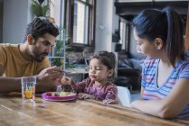Family sitting at kitchen table, father feeding toddler daughter — Stock Photo