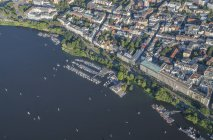 Outer Alster Lake with marina in Hamburg — Stock Photo