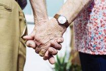 Rückseite des älteren Paares Händchen haltend, Nahaufnahme — Stockfoto