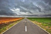 España, provincia de Zamora, carretera vacía y campos bajo cielo nublado - foto de stock