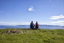 Islândia, visão traseira do casal olhando para a vista — Fotografia de Stock