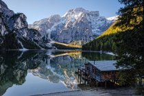 Italy, South Tyrol, boathouse at Lago di Braies — Stock Photo