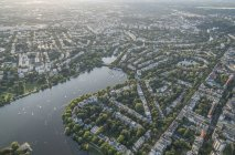 Alster Lake with Harvestehude district — Stock Photo