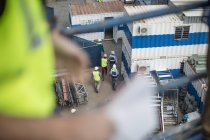Top view of men walking on construction site — Stock Photo