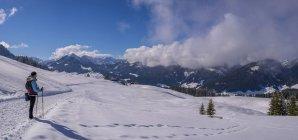 Австрия, Кляйнвальзерталь, женщина на высокой маршрут в зимний период — стоковое фото