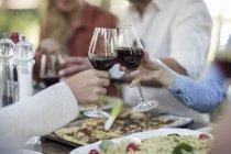 Grupo de amigos brindando con copas de vino - foto de stock