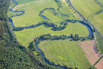Germany, Sallmannshausen, aerial view of Werraschleife with Oxbow lake — Stock Photo