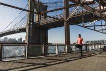 EE.UU., Nueva York, hombre saltar la cuerda en East River bajo el puente de Brooklyn - foto de stock