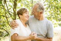 Старшая пара обнимается в солнечном саду — стоковое фото