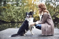 Smiling woman with her dog on jetty in autumn — Stock Photo