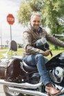 Eine Sitzung auf dem Motorrad — Stockfoto