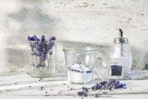 Glass of lavender sugar — Stock Photo