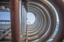 Pipework of stainless steel tanks — Stock Photo