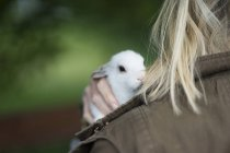 Little hare on shoulder of blonde woman — Stock Photo