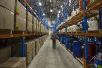 Manutentionnaire se déplaçant dans l'entrepôt — Photo de stock