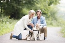 Senior couple crouching with dog in nature — Stock Photo
