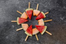 Picolés de melancia e rockmelon — Fotografia de Stock