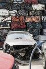Old cars on car dump — Stock Photo