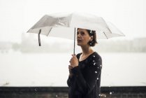 Woman with umbrella on a rainy day — Stock Photo
