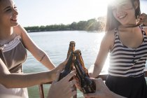 Friends relaxing together at sunlight toasting with beer bottles — Stock Photo