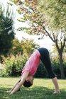 Молодая женщина практикует йогу в парке, вниз лицом к позиции собаки — стоковое фото