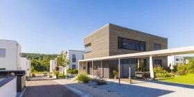 Development area with passive houses — Stock Photo