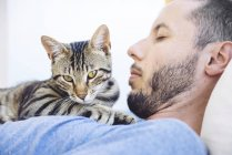 Tabby cat lying on chest of sleeping man — Stock Photo