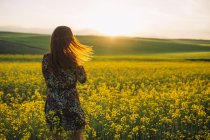 Back view of young woman standing in a rape field at twilight — Stock Photo
