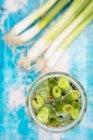 Glas eingelegte Frühlingszwiebeln — Stockfoto