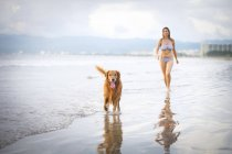 Mexico, Nayarit, Young woman walking with her Golden Retriever dog at the beach — Stock Photo