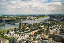 Germany, Cologne, view to cityscape with Gross Sankt Martin and city hall from above — Stock Photo