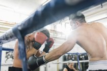 Two caucasian boxers fighting in boxing ring — Stock Photo