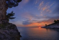 Croatie, Istrie, Prematura, Mer Adriatique, Coucher de soleil au cap Kamenjak — Photo de stock