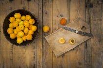 Schüssel mit Bio Aprikosen — Stockfoto