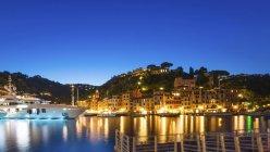 Italia, Portofino durante l'ora blu — Foto stock