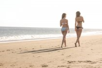Two female friends walking on the beach — Stock Photo