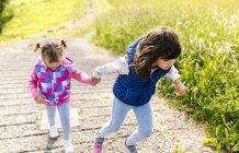 Две младшие сестры идут рука об руку по тропинке — стоковое фото