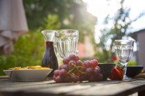 Mediterranean antipasti and wine on garden table — Stock Photo
