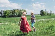 Garçon et fille dans la Prairie — Photo de stock