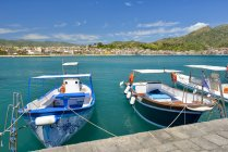 Italy, Sicily, Giardini Naxos, moored boats over water during daytime — Stock Photo