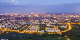 Germany, Bavaria, Munich, Aerial cityscape of illuminated downtown — Stock Photo