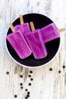 Пластина с четырьмя фруктовый лед домашнее черничное — стоковое фото