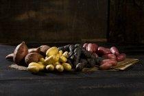 Diversi tipi di patate crude — Foto stock