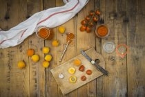 Ingredients for homemade apricot ketchup — Stock Photo