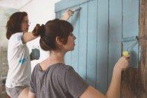 Porte peinture jeunes amis en bleu — Photo de stock