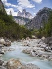 Italy, Alto Adige, Sexten Dolomites, Rienz Valley, Tre Cime di Lavaredo, Black Rienz river, Nature park Tre Cime — Stock Photo