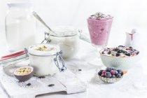 Чаші і келихи vegan кокосового йогурт з різними начинками, скло vegan малини кокосового мус — стокове фото