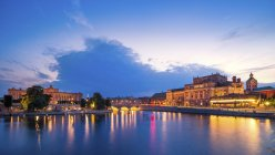 View to opera house and palace in the evening, Stockholm, Sweden — Stock Photo